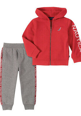 Brand New Nautica Baby Boys 18 Mo. 2 Piece Jog Set - NWT - Red Hoodie Gray Pants
