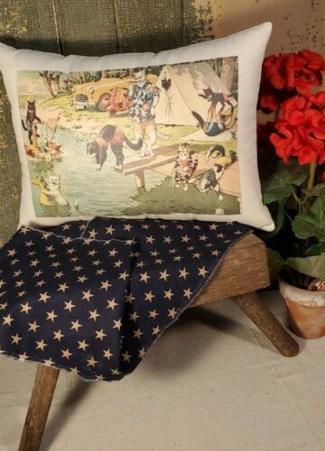 ADORABLE CATS VINTAGE ALFRED MAINZER SWIMMING CAMP TENT FISHING LAKE PC PILLOW