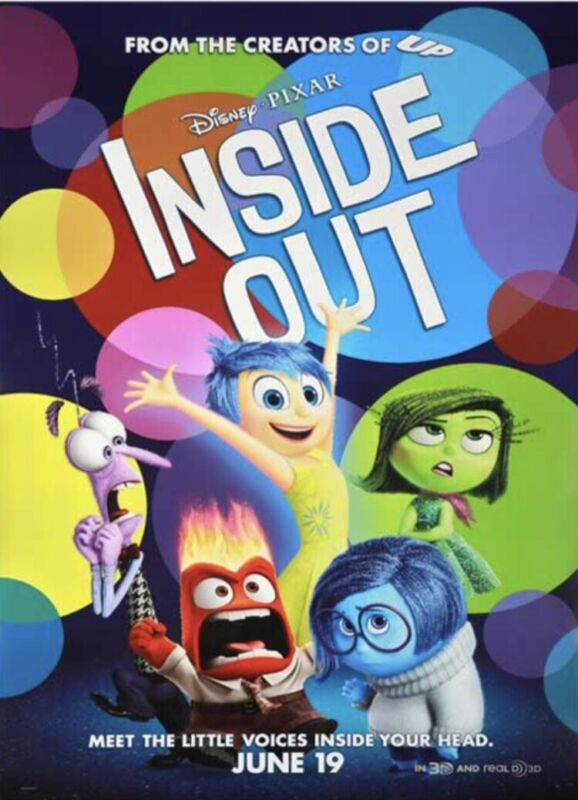 "Inside Out Final One Sheet Poster 27x40"" Double Sided Pixar Disney DS Brand New"