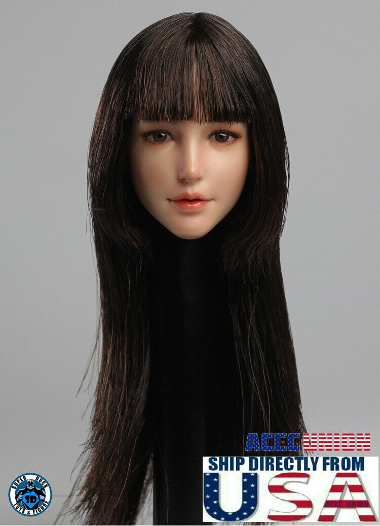 1//6 Female Head Sculpt LONG CURLY HAIR For PHICEN Hot Toys Figure SHIP FROM USA