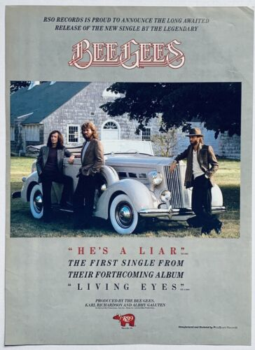 THE BEE GEES 1981 vintage POSTER ADVERT HE