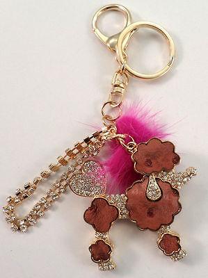 Rhinestone Bling Key Chain Fob Phone Purse Charm Pom Pom Poodle Dog (Pom Pom Dogs)