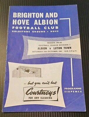 Brighton & Hove Albion v Luton Town Programme 14/10/61