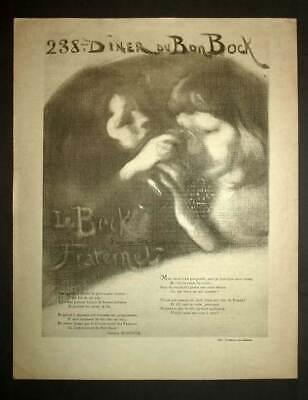 Program of the 238ème Diner of Good Bock Illustrated per Eugene Carriere 1898