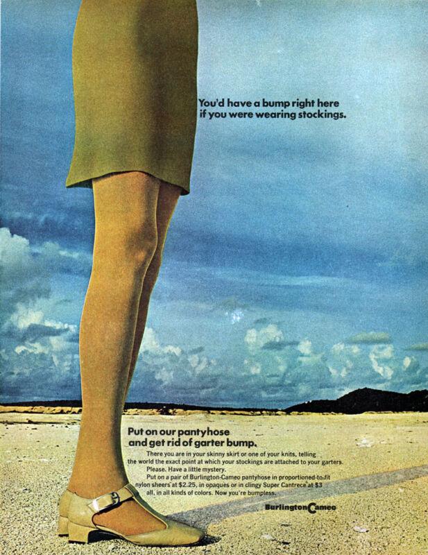 Burlington Cameo Pantyhose SEXY LEGS Get Rid Of Garter Belt Bump 1968 Print Ad