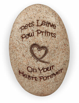 Cat Dog Pet Stone Memory Memorial Keepsake Paw Prints Heart Forever Puppy Kitten (Paw Prints Rock)