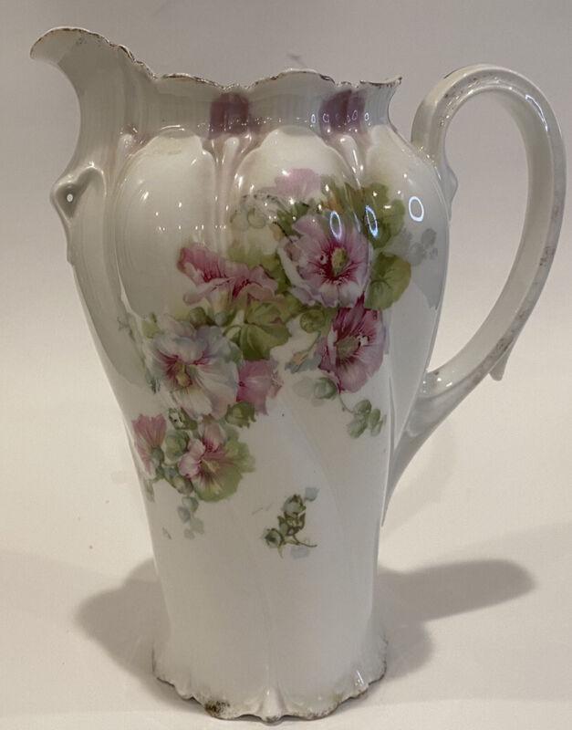 "RS Prussia Purple Floral Chocolate Pot 8"" Tall Coffee Tea Antique Porcelain"