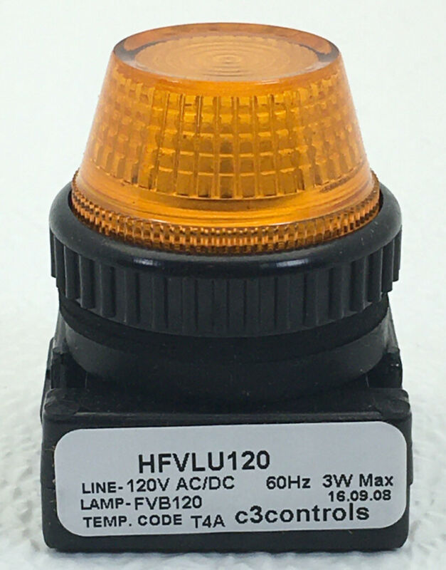 HFVLU120-PLLAR C3 Indicating, Full Voltage, 120V AC/DC, Clear Incandescent, Blac