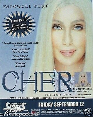 """CHER 2004 """"FAREWELL TOUR"""" SAN DIEGO CONCERT POSTER- Cher Smiling In A Blonde Wig"""