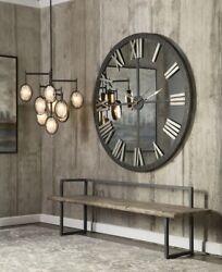 HUGE 60 Urban Modern Mirror Wall Clock Round Distressed Bronze Finish Metal XL