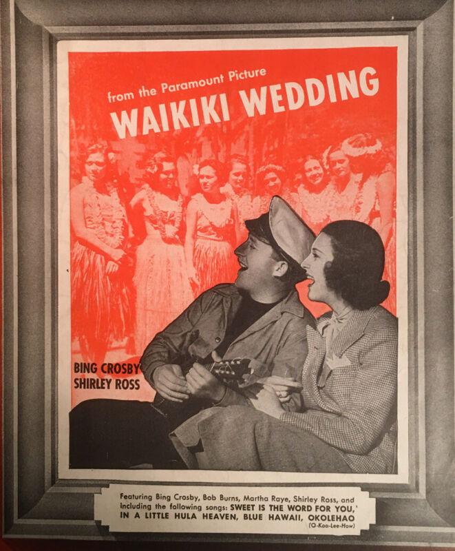 1937 Blue Hawaii Waikiki Wedding Bing Crosby Photo Tiki Hula Vintage Sheet Music