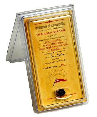 Rms Titanic Coal Mini Certificate Of Authenticity  Authentic Memorabilia