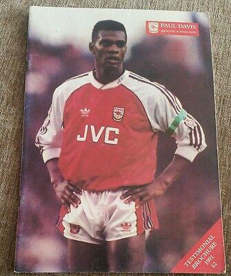 Paul Davis Arsenal Testimonial Programme 1991
