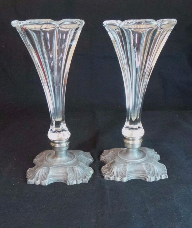 PAIR OF ART DECO CRYSTAL FLUTED VASES WITH STERLING METAL BASE