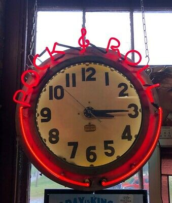 Vintage Neon Advertising Clock Rock & Roll Shipping Available