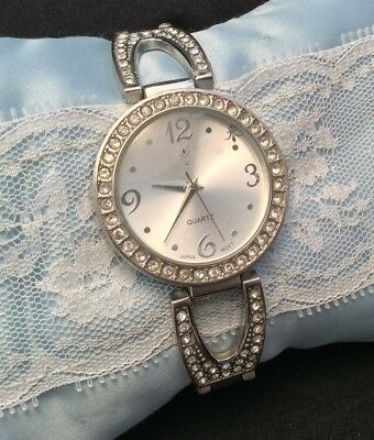 Vintage Fleur De Lis Rhinestone Studded Quartz Silver Watch New Battery WORKS