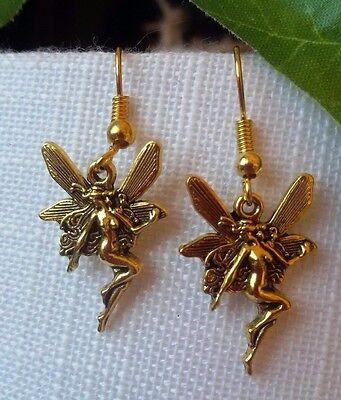 Elfen Ohrringe Elfe Engel Fee Fairy Schmetterlingself Metall Antikgold Geschenk