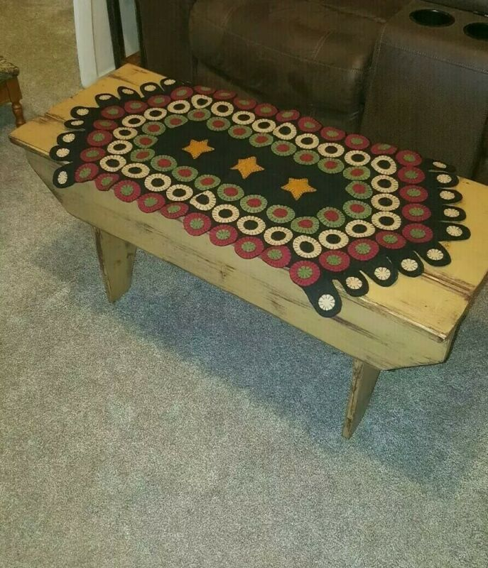 Primitive PENNY STITCHED TABLE RUNNER with Stars. Black Wool Felt 34""