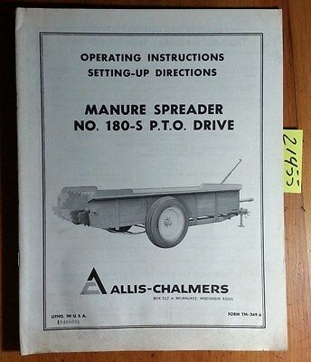 Allis-chalmers 180-s Pto Drive Manure Spreader Owners Operators Manual Tm-369a