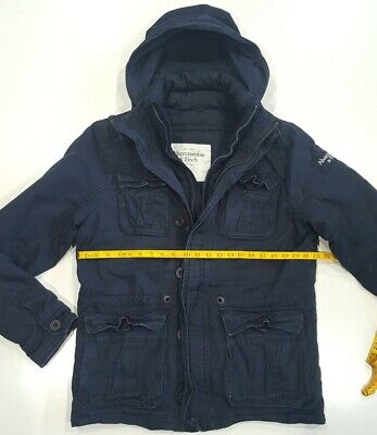 Abercrombie And Fitch Sentinel Jacket With Hood Navy Blue Mens Large Nice Rare