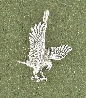 Hawk Charm Sterling Silver Eagle Falcon Bird Pendant Animal  Made in (Falcon Bird Animal)