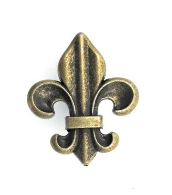 Fleur de Lis Drawer Cabinet Knobs Pull Antique Brass Finish French Decor Brass Finish Cabinet Knobs