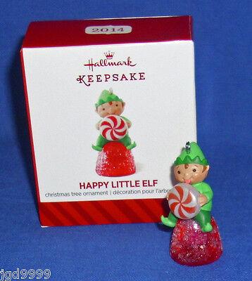 Hallmark Miniature Ornament Happy Little Elf 2014 Pixie Peppermint Gumdrop NIB