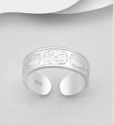TJS 925 Sterling Silver Toe Ring Wave Line Design Adjustable Wavy Gold Plated