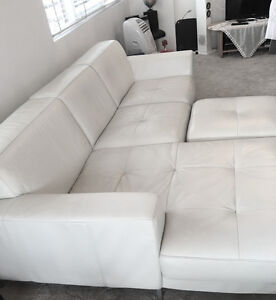 Nick Scali White Leather Lounge with chaise and ottoman Ramsgate Beach Rockdale Area Preview