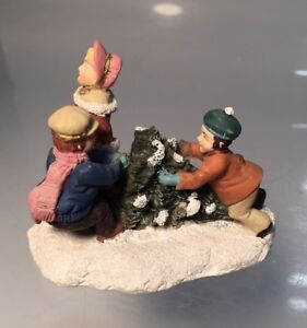 Vintage Ceramic Christmas Village Figurines Mom and Children Christmas Tree
