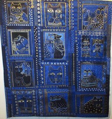 Laurel Burch Fabulous Felines Fabric  12 Block Blue Panel  100% Cotton