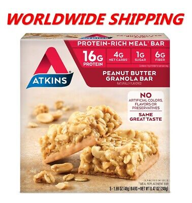 Atkins Peanut Butter Granola Protein Rich Meal Bar 8.47 Oz 5 Ct WORLD SHIPPING (Atkins Bars Peanut Butter Granola)