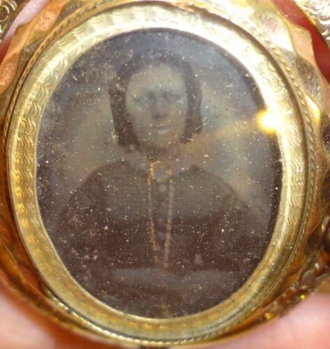 Victorian Gold Filled Swivel Locket Brooch Pendant Hair & Ambrotype Photo
