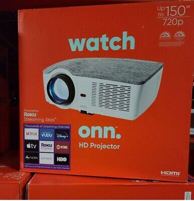 Onn Projector 720p / 1080p 3100 lumens Portable Roku Streaming Stick - 10001068