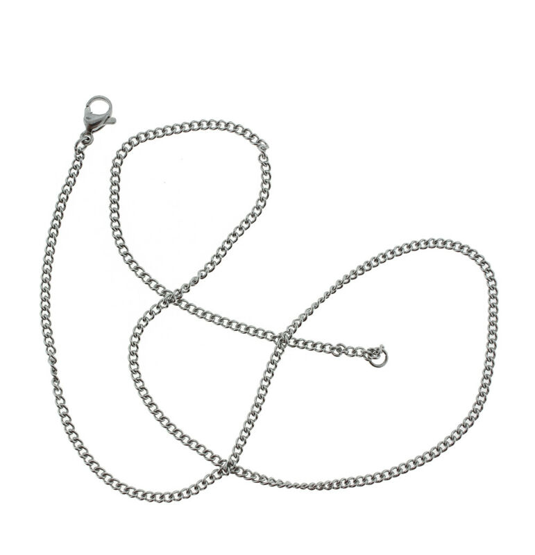 "Stainless Steel Curb Chain Necklace 18"" - 2mm - 1 Necklace - N586"