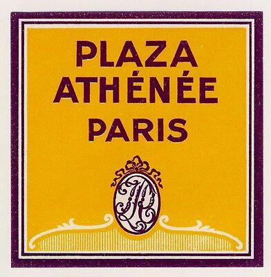 "Hotel Plaza Athénée PARIS France * Old Luggage Label Kofferaufkleber ""S"""