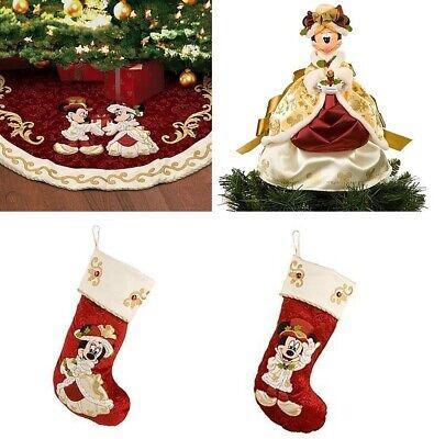 2010 DISNEY PARKS MICKEY VICTORIAN CHRISTMAS TREE SKIRT + TOPPER + STOCKING SET