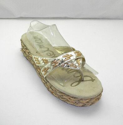 Sam Edelman Metallic Gold Leather Thong Sandal - Woven Jute Platform Slides 10M  Gold Woven Platform
