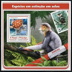 SAO TOME 2017 ENDANGERED SPECIES STAMP ON STAMP SOUVENIR SHEET MINT NH