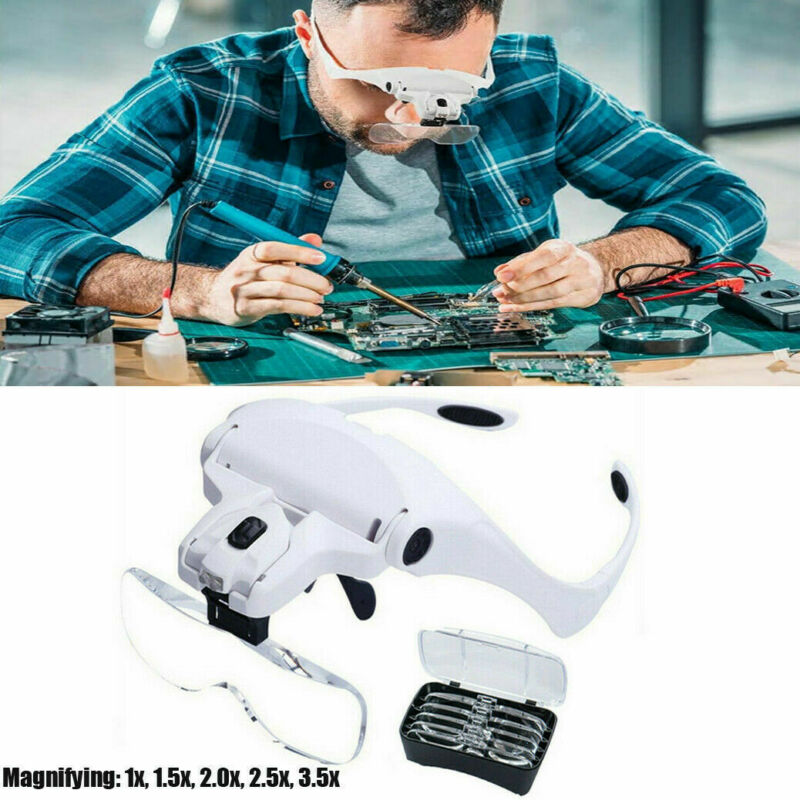 Headband Magnifier with LED Light Handsfree Reading Magnifying Glasses 5 Lenses