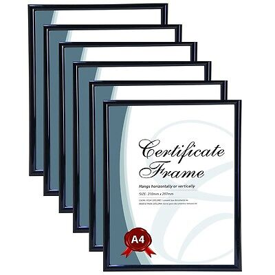 6 x A4 Wall Glass Certificate Black Frame Photo Poster Hanging Picture 21x30cm