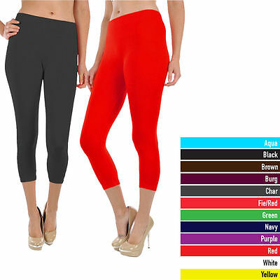 Women's Capri Leggings Solid Stretch Sexy Spandex Yoga Gym Fitness Pants Slim  (Sexy Women Spandex)