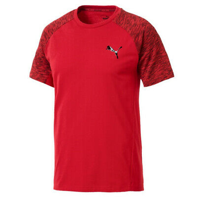 Puma EvoStripe Active Mens Tee Casual Top T-Shirt Red 851718 12 A10E