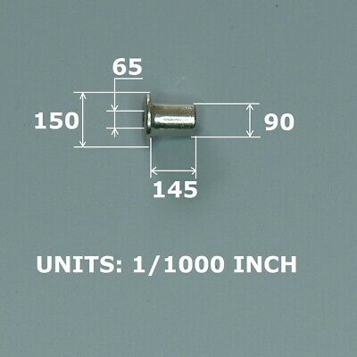 100 Rivet Eyelet For Pcb Nickel Plated Copper. Closed Fit 0.100 Hole.