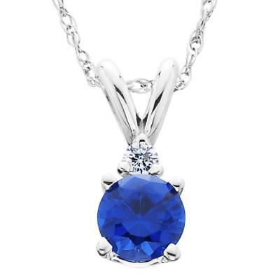 1ct Blue Sapphire & Diamond Solitaire Pendant 14K White Gold