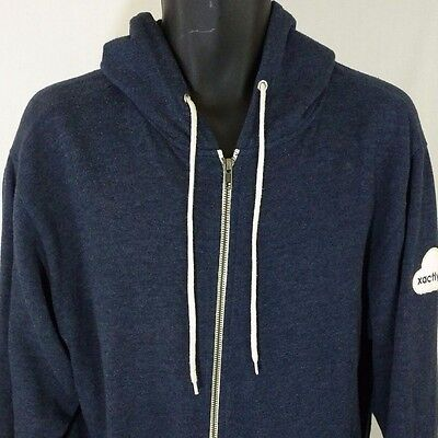 Mv Sport Hoodie Sweatshirt Full Zip Xactly Blue Sanded Fleece Mens Size Medium