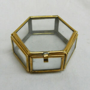 Small Brass Bound Hexagonal Glass Box - Trinkets, Display, Crafts - BNWT