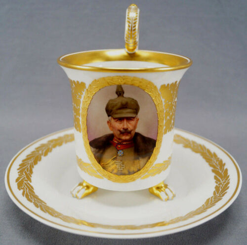 KPM Berlin Hand Painted WWI Wilhelm II Portrait & Gold Leaf Empire Form Cup