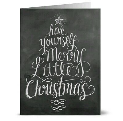 Have Yourself a Merry Little Christmas 36 Chalkboard Note Cards Kraft Envs (Have Yourself A Merry Little Christmas Notes)