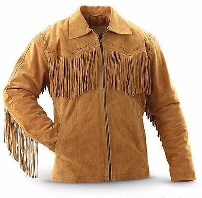 Men's Traditional Western Boar Suede Leather Cowboy Jacket coat with fringes (Boar Suede Leather Coat)